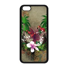 Wonderful Tropical Design With Palm And Flamingo Apple Iphone 5c Seamless Case (black) by FantasyWorld7