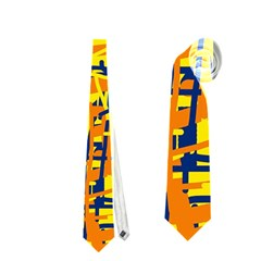 Yellow, Orange And Blue Pattern Neckties (two Side)  by Valentinaart