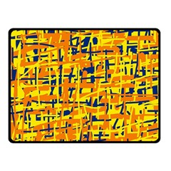 Yellow, Orange And Blue Pattern Fleece Blanket (small) by Valentinaart
