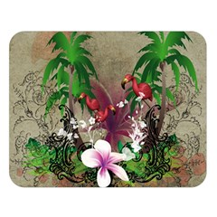 Wonderful Tropical Design With Palm And Flamingo Double Sided Flano Blanket (large)  by FantasyWorld7