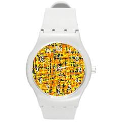 Yellow, Orange And Blue Pattern Round Plastic Sport Watch (m) by Valentinaart