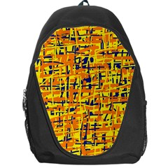 Yellow, Orange And Blue Pattern Backpack Bag by Valentinaart