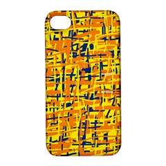 Yellow, Orange And Blue Pattern Apple Iphone 4/4s Hardshell Case With Stand by Valentinaart