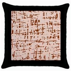 Brown Elegant Pattern Throw Pillow Case (black) by Valentinaart