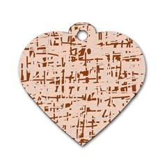 Brown Elegant Pattern Dog Tag Heart (one Side) by Valentinaart