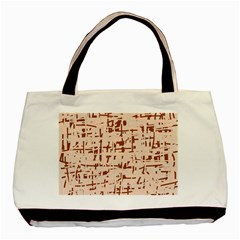 Brown Elegant Pattern Basic Tote Bag (two Sides) by Valentinaart
