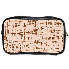 Brown Elegant Pattern Toiletries Bags