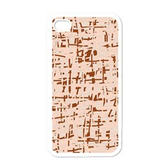 Brown Elegant Pattern Apple Iphone 4 Case (white) by Valentinaart