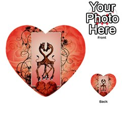 Cute Giraffe In Love With Heart And Floral Elements Multi Purpose Cards (heart)  by FantasyWorld7