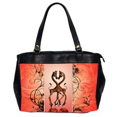 Cute Giraffe In Love With Heart And Floral Elements Office Handbags (2 Sides)