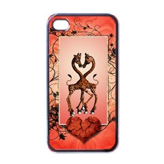 Cute Giraffe In Love With Heart And Floral Elements Apple Iphone 4 Case (black) by FantasyWorld7