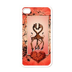 Cute Giraffe In Love With Heart And Floral Elements Apple Iphone 4 Case (white) by FantasyWorld7