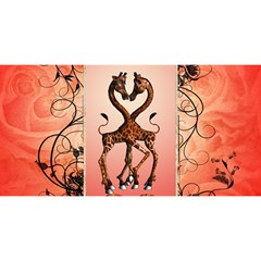 Cute Giraffe In Love With Heart And Floral Elements YOU ARE INVITED 3D Greeting Card (8x4)  by FantasyWorld7