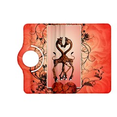 Cute Giraffe In Love With Heart And Floral Elements Kindle Fire Hd (2013) Flip 360 Case by FantasyWorld7