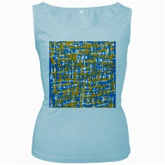 Blue And Yellow Elegant Pattern Women s Baby Blue Tank Top by Valentinaart