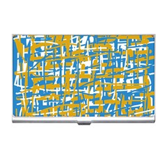 Blue And Yellow Elegant Pattern Business Card Holders by Valentinaart