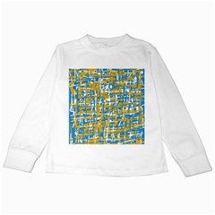 Blue And Yellow Elegant Pattern Kids Long Sleeve T Shirts by Valentinaart