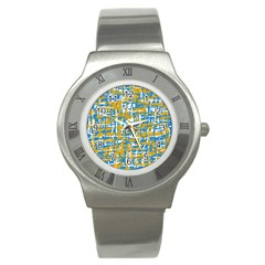 Blue And Yellow Elegant Pattern Stainless Steel Watch by Valentinaart