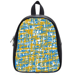 Blue And Yellow Elegant Pattern School Bags (small)  by Valentinaart