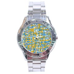 Blue And Yellow Elegant Pattern Stainless Steel Analogue Watch by Valentinaart