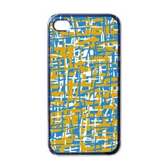Blue And Yellow Elegant Pattern Apple Iphone 4 Case (black) by Valentinaart