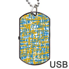 Blue And Yellow Elegant Pattern Dog Tag Usb Flash (two Sides)  by Valentinaart