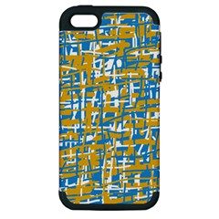Blue And Yellow Elegant Pattern Apple Iphone 5 Hardshell Case (pc+silicone) by Valentinaart