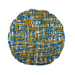 Blue And Yellow Elegant Pattern Standard 15  Premium Flano Round Cushions by Valentinaart