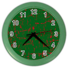 Green And Red Pattern Color Wall Clocks by Valentinaart