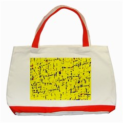 Yellow Summer Pattern Classic Tote Bag (red) by Valentinaart