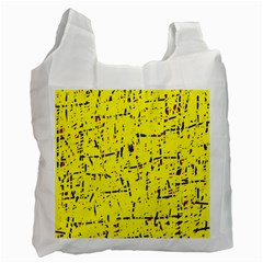 Yellow Summer Pattern Recycle Bag (one Side) by Valentinaart