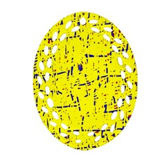 Yellow Summer Pattern Ornament (oval Filigree)  by Valentinaart
