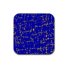 Blue Pattern Rubber Coaster (square)  by Valentinaart