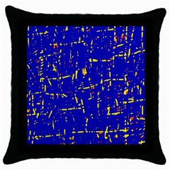 Blue Pattern Throw Pillow Case (black) by Valentinaart