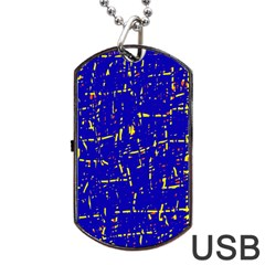 Blue Pattern Dog Tag Usb Flash (one Side) by Valentinaart