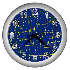 Deep blue and yellow pattern Wall Clocks (Silver)
