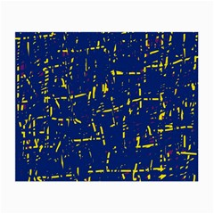 Deep Blue And Yellow Pattern Small Glasses Cloth by Valentinaart