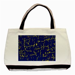Deep Blue And Yellow Pattern Basic Tote Bag (two Sides) by Valentinaart