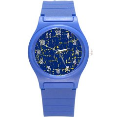 Deep Blue And Yellow Pattern Round Plastic Sport Watch (s) by Valentinaart