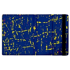 Deep blue and yellow pattern Apple iPad 3/4 Flip Case by Valentinaart