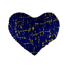 Deep Blue And Yellow Pattern Standard 16  Premium Heart Shape Cushions by Valentinaart