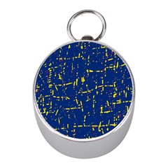 Deep Blue And Yellow Pattern Mini Silver Compasses by Valentinaart