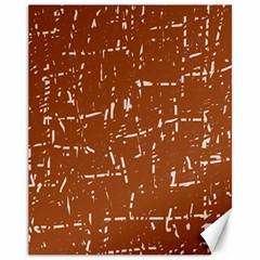 Brown Elelgant Pattern Canvas 11  X 14   by Valentinaart