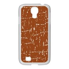 Brown Elelgant Pattern Samsung Galaxy S4 I9500/ I9505 Case (white) by Valentinaart