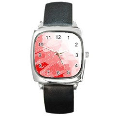 Red Pattern Square Metal Watch by Valentinaart