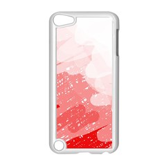Red pattern Apple iPod Touch 5 Case (White) by Valentinaart