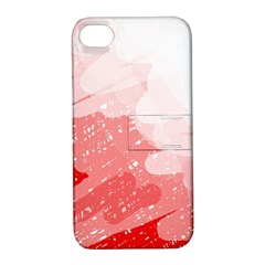 Red Pattern Apple Iphone 4/4s Hardshell Case With Stand by Valentinaart