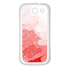 Red Pattern Samsung Galaxy S3 Back Case (white) by Valentinaart
