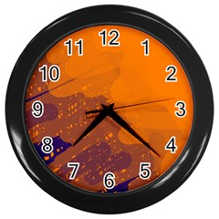 Orange And Blue Artistic Pattern Wall Clocks (black) by Valentinaart