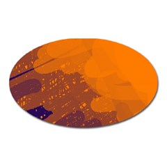 Orange And Blue Artistic Pattern Oval Magnet by Valentinaart